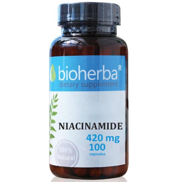 Ниацинамид на капсули 420 мг. 100 капсули