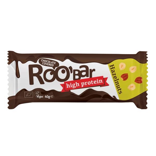 Roobar протеинов бар с лешници покрит с шоколад 40g
