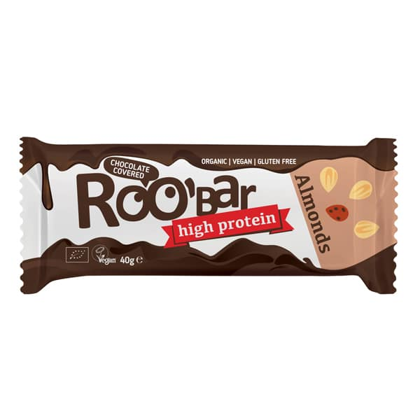 Roobar протеинов бар с бадеми покрит с шоколад 40g