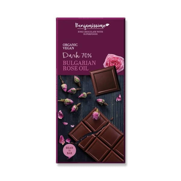 Веган шоколад с българска роза (Тъмен 70%) 70g