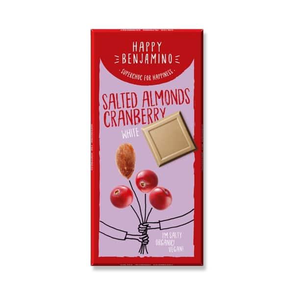 Шоколад Солен бадем и червена боровинка (Бял) 70g