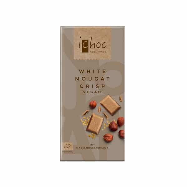 Шоколад хрупкав бяла нуга ВЕГАН 80g iChoc