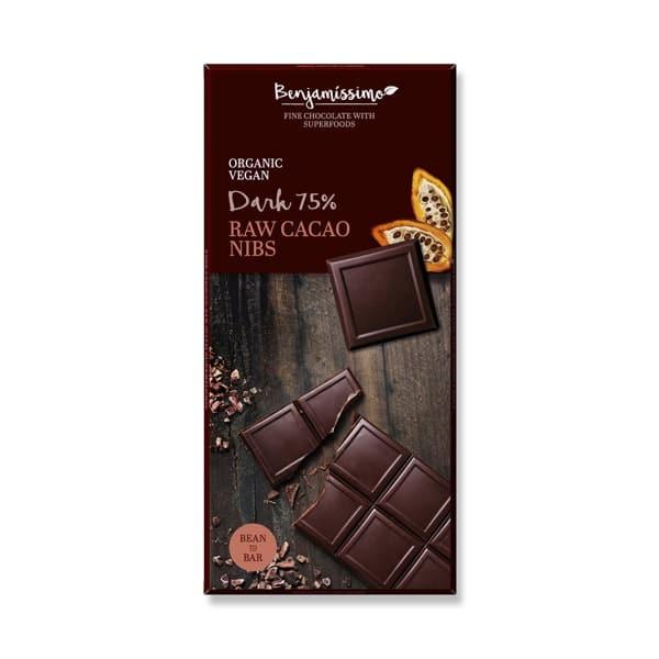 Шоколад Суров какао нибс (Тъмен 75%) 70g