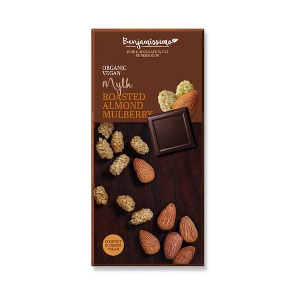 Шоколад Печени бадеми и черница (Кокосово мляко) 70g