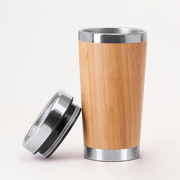 Еко Луксозна чаша от стомана и бамбук 500 мл.