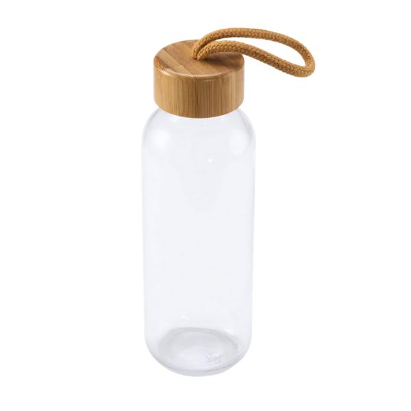 Еко Стъклена бутилка с бамбук 450 мл